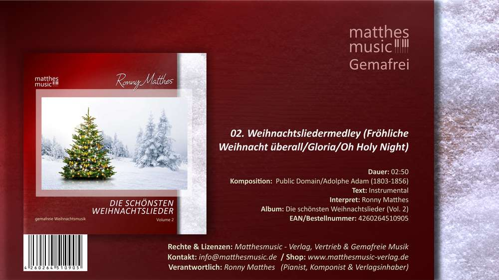 Weihnachtsliedermedley - Gemafreie Weihnachtsmusik zum Downloaden
