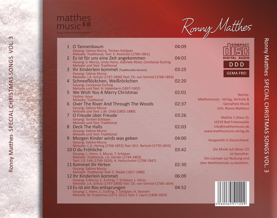 Special Christmas Songs, Vol. 3 - deutsche Weihnachtslieder (MP3)